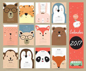 Colorful cute monthly calendar 2017 with bearpenguinmonkey and