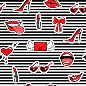 Cute fashion seamless pattern with patch badges Points envelope with wings mouth smile tongue red lipstick Romantic design Striped background