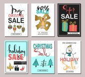 Set of creative sale holiday website banner templates Christmas and New Year hand drawn illustrations for social media banners posters email and newsletter designs ads promotional material