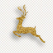 Deer with Golden sparkles on transparent background Vector illustration