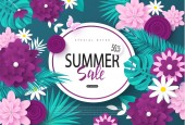 Summer sale bannerBackground with flowers butterflies and tropical leaves Vector illustration for posters coupons promotional material