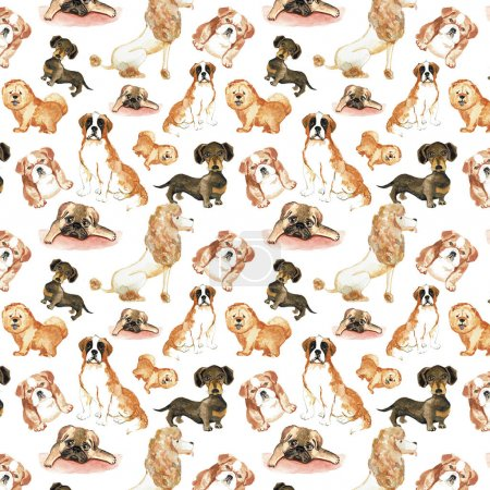 Pattern with dogs: St. Bernard dog, dachshund, chow chow, poodle, pug. Hand drawing watercolor.