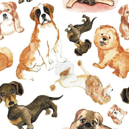 Seamless pattern with dogs: St. Bernard dog, dachshund, chow chow, poodle, pug.