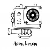Sport camera action camera isolated on white background Vector illustration in sketch style