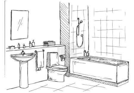 Illustration pour Croquis dessiné à la main. Croquis linéaire d'un intérieur. Une partie de la salle de bain. Illustration vectorielle - image libre de droit