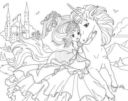 Foto de Página para colorear del Unicornio y princesa - Imagen libre de derechos