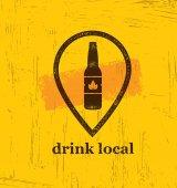 Drink Local Craft Beer Creative Banner Concept On Rough Background Beverage Vector Design Element