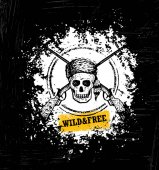 Wild And Free Outdoor Forest Adventure Motivation Poster Concept On Rough Wood Background Skull Wearing Coonskin Hat With Two Crossed Axes