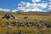Landscape stepp with dry yellow grass and  high mountain range with snow glaciers ice, Ukok Plateau, Altai, Siberia, Russia