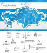 Vector Kazakhstan map with symbols of the major cities