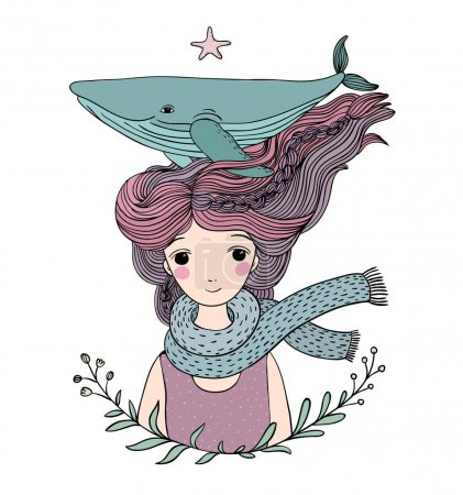 Illustration pour Belle jeune fille marin avec une baleine dans les cheveux. Des animaux marins. objets isolés sur fond blanc. Illustration vectorielle . - image libre de droit