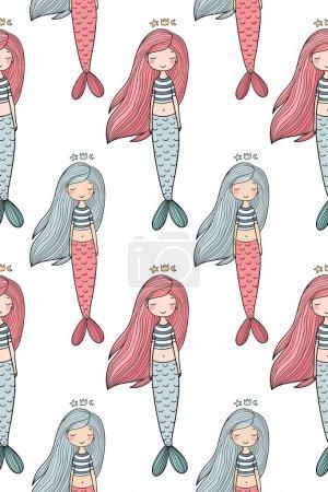 Illustration pour Motif avec jolie petite sirène. Sirène. Thème mer. Illustration vectorielle pour enfants design . - image libre de droit