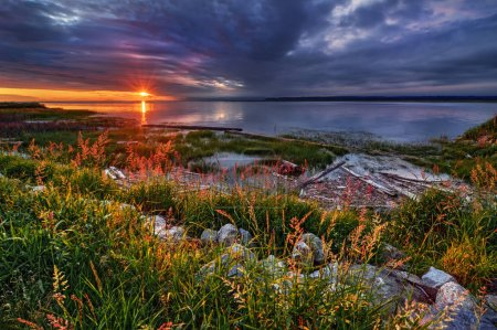 Picturesque sea landscape at sunset