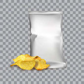 Vector design template for Chips advertising Package with place for design and chips on transparent background