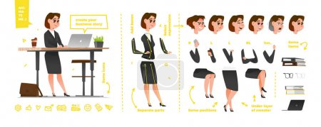 Illustration for Stylized characters set for animation. Some parts of body for rig - Royalty Free Image