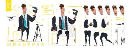 Illustration pour Jeu de caractères stylisés pour l'animation. Certaines parties du corps pour plate-forme - image libre de droit