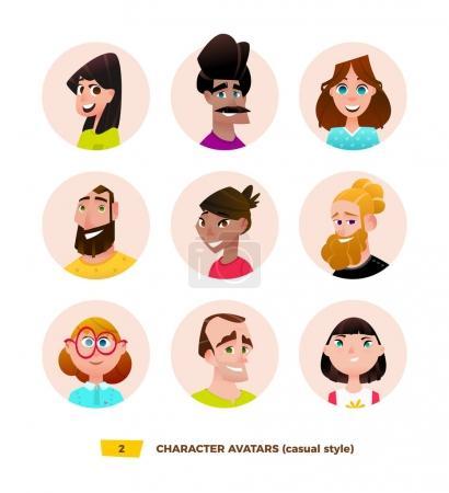 Illustration pour Personnages avatars en dessin animé style plat . - image libre de droit