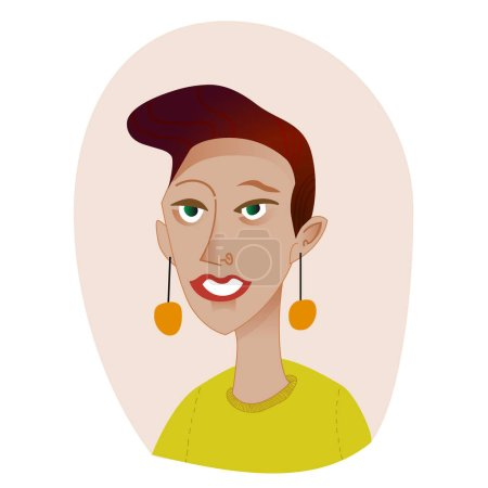 Photo for Young woman with short hair and green eyes and earrings smiling - Royalty Free Image