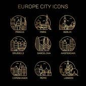 Europe city icons set
