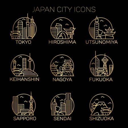Photo pour Japon villes icônes ensemble. Illustration vectorielle - image libre de droit