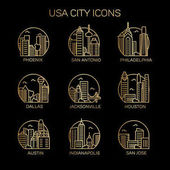 USA city icons Vector illustration