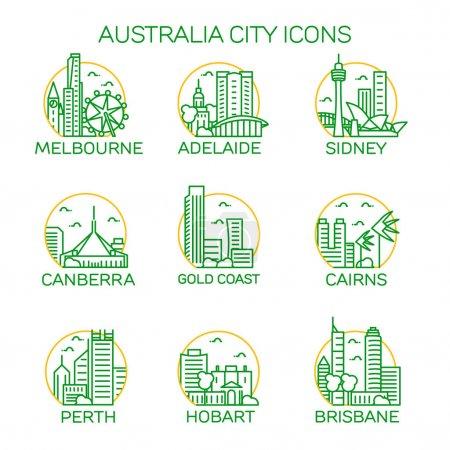 Australia cities icons set. Vector illustration...