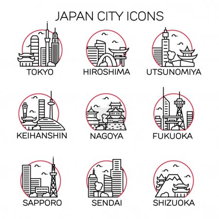 Japan Cities Icons. Vector illustration...
