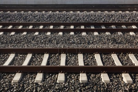 Train tracks close up