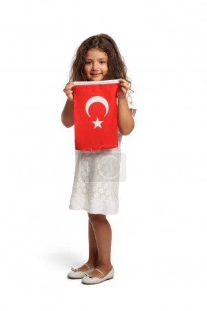 cute little girl with flag of Turkey