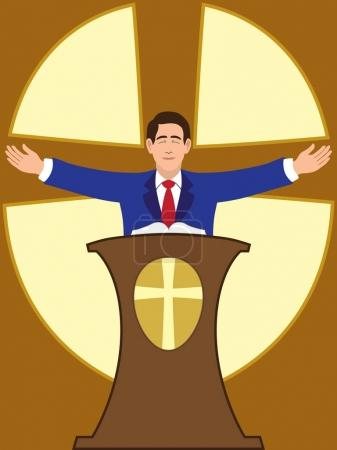 Preacher is spreading his arms during worship serv...