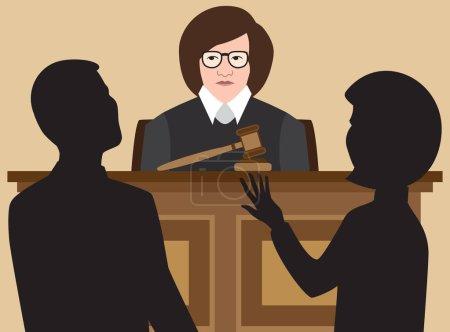 Illustration pour Une juge féminine écoute deux avocats plaider leur cause - image libre de droit