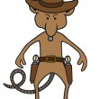 A cartoon mouse gunfighter with two pistols is sta...