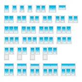 Vector window icons Infographics of plastic windows PVC windows