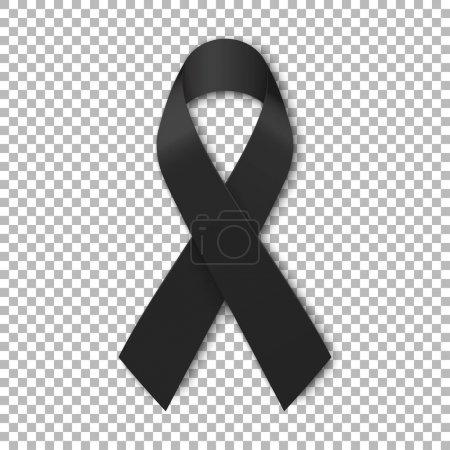 Illustration for Black mourning ribbon on transparent background. Vector illustration. - Royalty Free Image