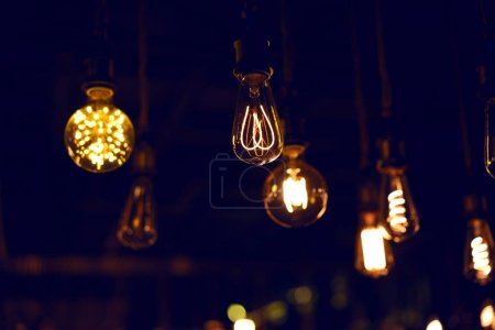 light bulbs in cafe