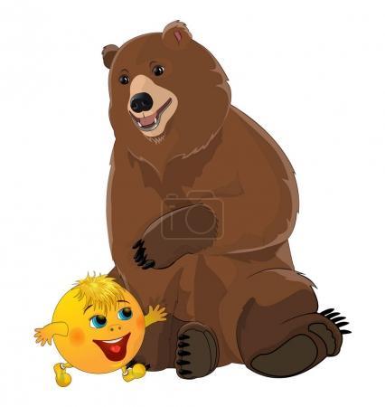 Photo pour Bun kolobok et ours. Isolé sur fond blanc . - image libre de droit