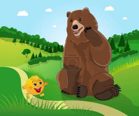 Photo pour Kolobok et un ours dans le fond de la forêt - image libre de droit