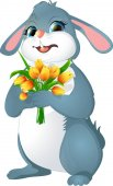 Rabbit with yellow tulips Isolated on white background