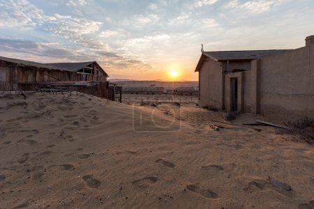 Abandoned buildings in Namib desert