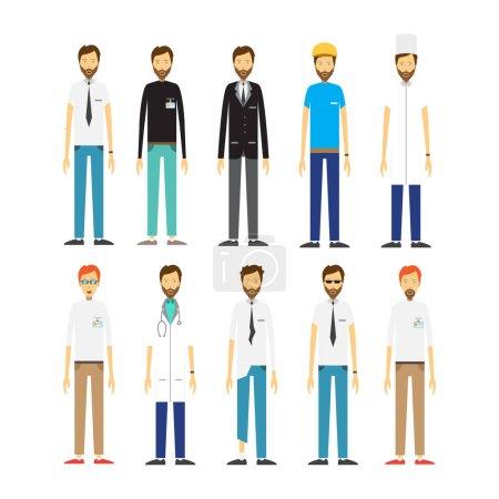 Photo pour Différentes professions médecin, travailleur, homme d'affaires, sans-abri, programmeur indépendantImage - image libre de droit