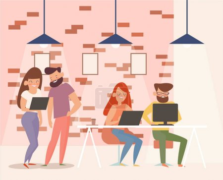 Illustration for Coworking center. team work on the project. Modern office interior. creative Studio design and application development - Royalty Free Image