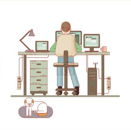 Office worker behind a desktop