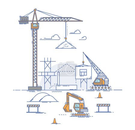 construction crane builds