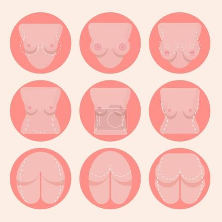 breast lift and buttocks icons