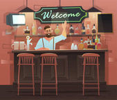 Banner of bar interior with Bartender