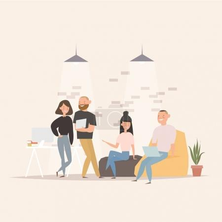 Illustration for Concept of the coworking center. Business meeting. Flat design style vector illustration. Freelancers working in creative space. Modern office interior. Application development - Royalty Free Image