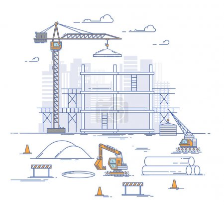 Illustration pour Site de construction, construction d'une maison. Thin line flat design concept moderne d'illustration vectorielle. Design de style d'art de ligne mince pour le démarrage d'entreprise. Construction avec grue et pelle - image libre de droit
