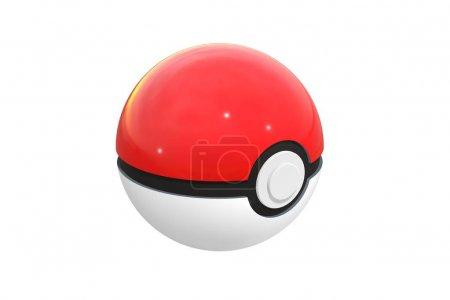 Photo pour Editorial illustration: rendu 3d de pokeball isolé sur fond blanc. Pokeball est un équipement d'attraper dans Pokemon Go, le jeu de réalité augmentée plus de succès. Ballon rouge et noir. - image libre de droit
