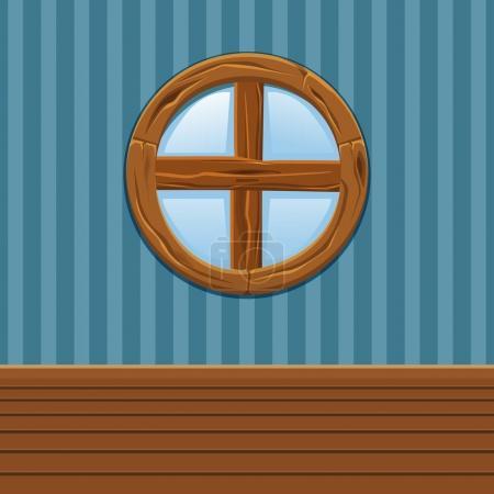 Photo pour Dessin animé Fenêtre ronde en bois, Intérieur de la maison en - image libre de droit