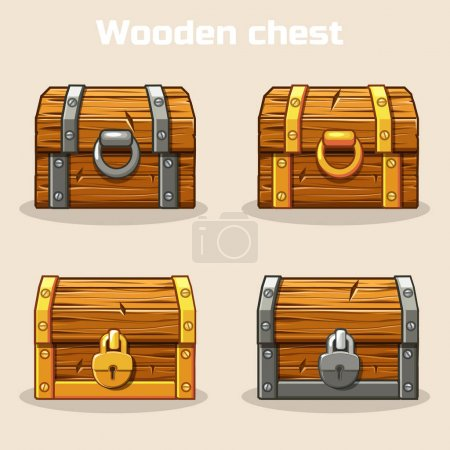 Photo for Closed wooden treasure chest, gold and silver lock - Royalty Free Image